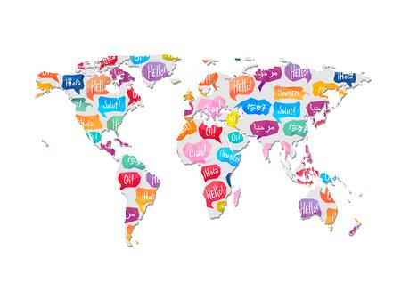 Mappa del mondo con l'illustrazione di vettore del modello.