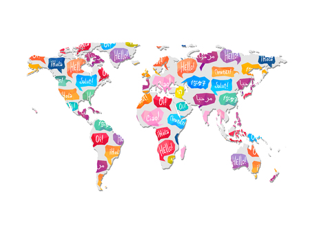 World map with pattern vector illustration.