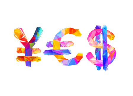 Word Yes Of Currency Symbols Yen Euro Dollar Geometric