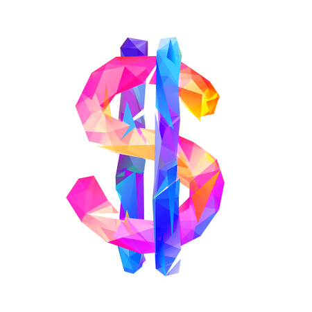 Vector colorful dollar sign on white background