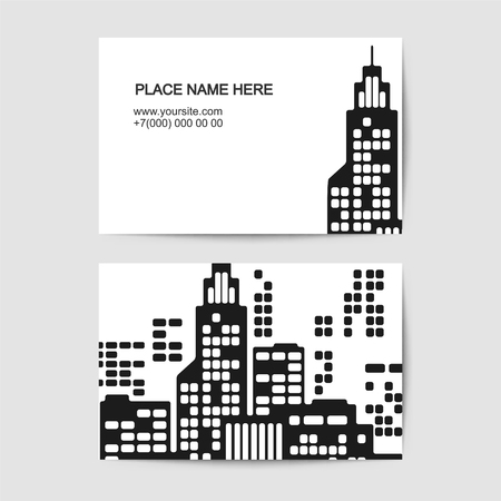 Visit card vector template vith city. Black and white