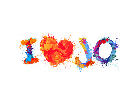 I love Jo (Jordan). Inscription of vector splash paint