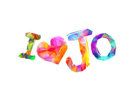 Ik hou van Jo (Jordanië). Inscriptie van vector driehoekige letters
