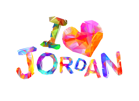 I love Jordan. Inscription of vector triangular letters Çizim