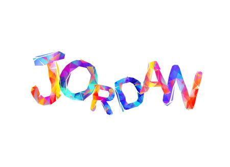 Jordanië. Inscriptie van vector driehoekige letters Stock Illustratie