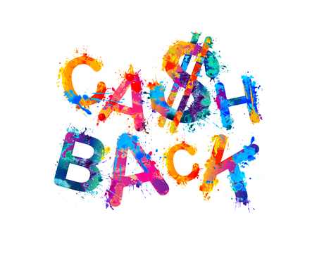 Cash back. Vector inscription of watercolor splash letters with dollar sign
