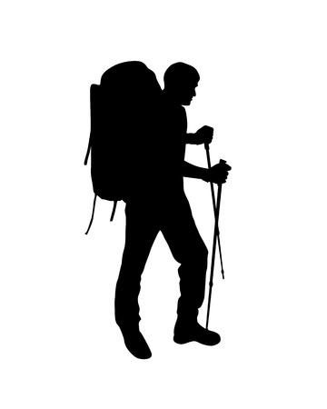 Silhouette of trekking traveler. Vector climber man Vettoriali
