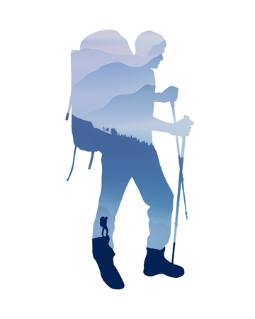 Mountain landscape in silhouette of trekking traveler. Vector Illustration