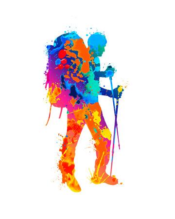 Silhouette of traveler. Vector climber. Splash paint