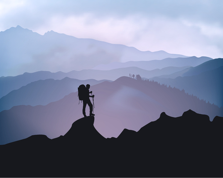 Traveler engaged in trekking in the background of mountains. Sunrise landscape.