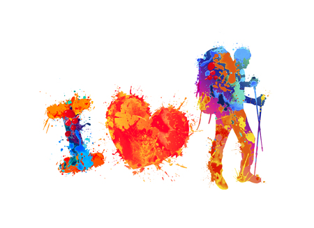 I love trekking. Watercolor splash paint vector traveller silhouette