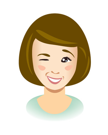Cute young woman wink. Illustration