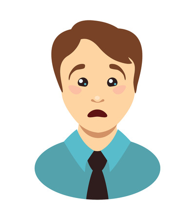 Shoked young man face. Surprised vector head