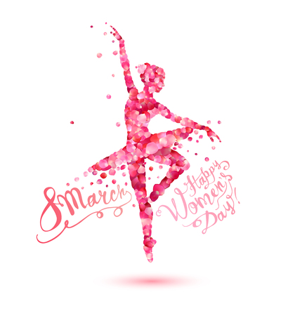 8 march. Happy Women's Day! Silhouette of a dancing woman of pink rose petals Vectores