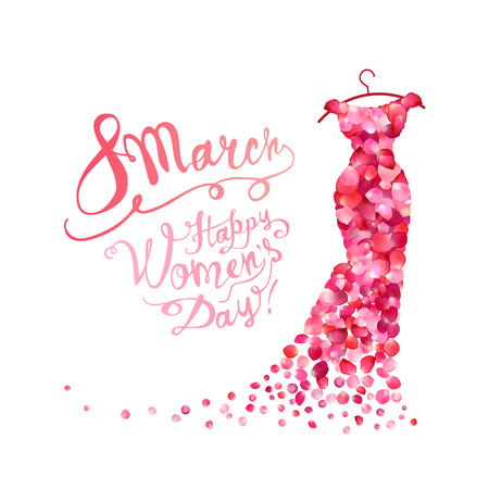 Szczęśliwego dnia kobiety! Święto 8 marca. Sukienka z różowymi płatkami róż