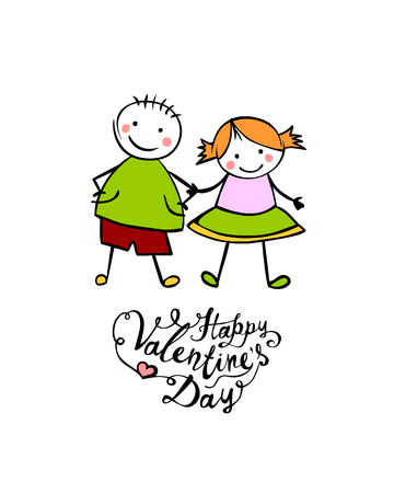 Happy Valentines Day. Vector hand written lettering. Boy and girl (or man and woman). Little people in the childrens style.