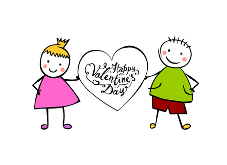 Happy Valentines Day. Vector hand written lettering. Boy and girl (or man and woman) with heart. Little people in the childrens style.  Illustration
