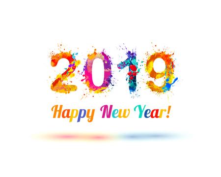 Vector congratulation card. Happy New Year 2019 illustration.