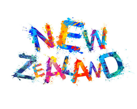 New Zealand. Inscription of vector triangular letters illustration.
