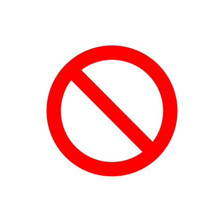 Ban vector simple sign. Red forbidding symbol.
