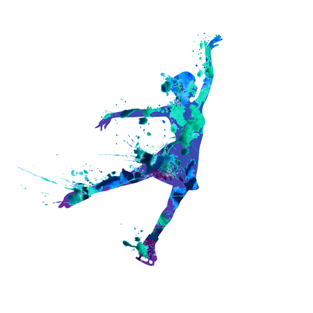 A Vector silhouette of figure skating girl. Watercolor splash pain Ilustrace