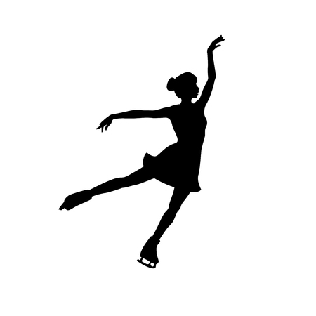 Black vector silhouette of figure skating girl