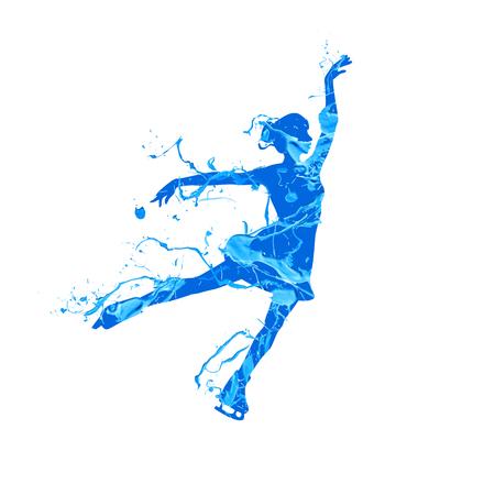 A Vector silhouette of figure skating girl. Blue splash pain