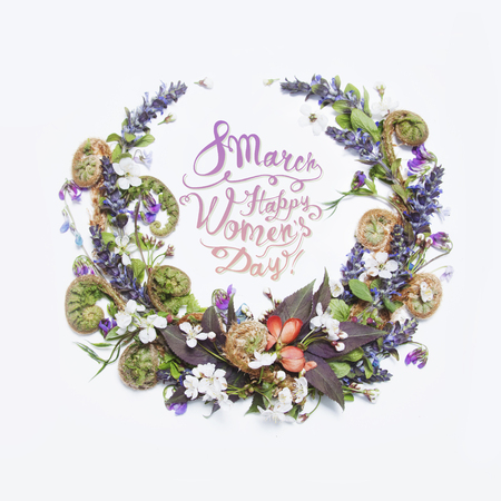 8 March. Happy women's day! Card with floral frame on a white background