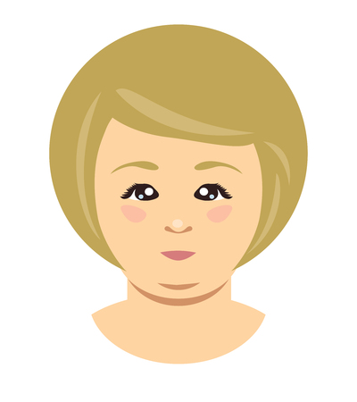 Blonde overweight woman face. Vector flat illustration Illustration