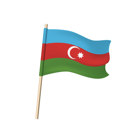 Azerbaijan flag (White crescent and eight-pointed star on blue, red, and green stripes). Vector illustration