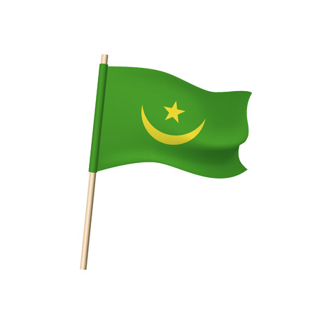 Mauritania flag (yellow crescent and star on green background). Vector illustration. Illustration