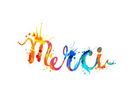 Iscrizione in francese: grazie (merci). Illustrazione di vernice spruzzata. Vettoriali