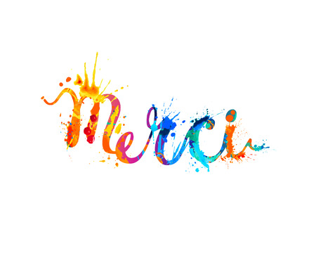 Inscription in French: Thank You (merci). Splash paint illustration.