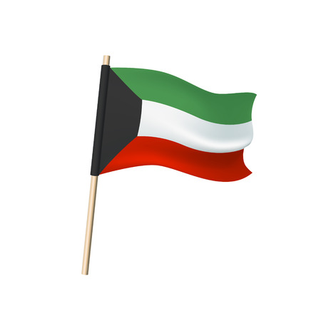 Kuwait flag (white, red, black and green). Vector illustration