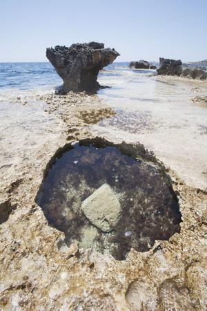 Sea coast near Cyclop's Cave. Cyprus landscape