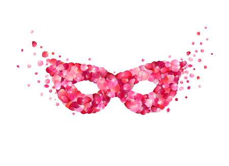 Carnival mask of pink rose petals Vector illustration Illustration