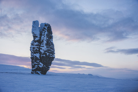 The weathering post on the plateau of Manpupuner, Komi Republic, Russia