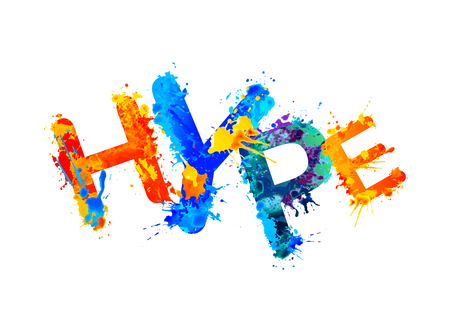 Word hype made with splash paint colorful letters