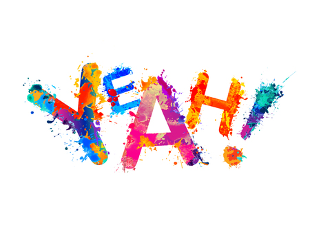 Word Yeah made of splash paint colorful letters