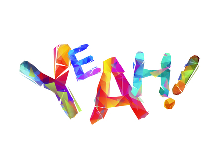 Word Yeah made of triangular colorful letters