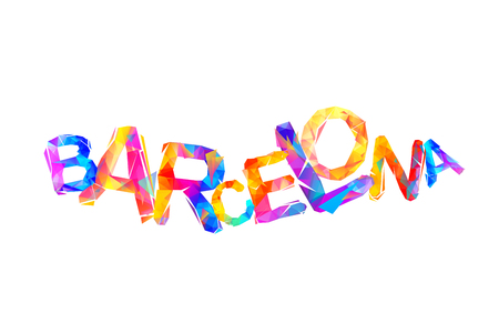 Barcelona - Catalonia capital. Triangular vector word Illustration