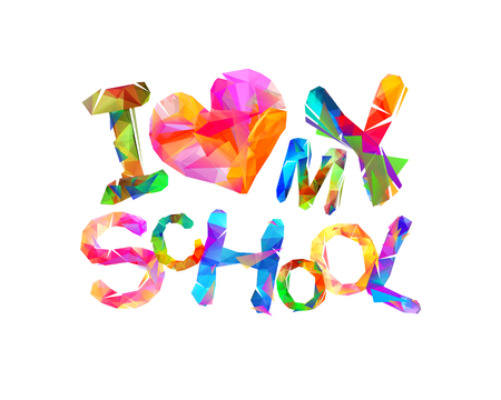 I love my school vector triangular letters Reklamní fotografie - 95661869