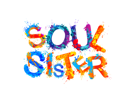 Soul sister. Vector watercolorplash paint letters on white background