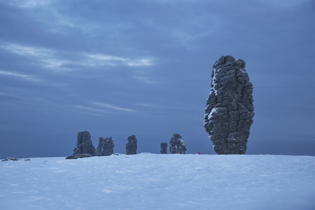 The weathering posts on the plateau of Manpupuner, Komi Republic, Russia