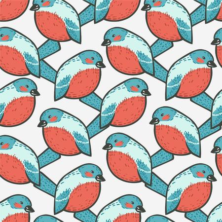 doodle bullfinch bird vector seamless pattern.