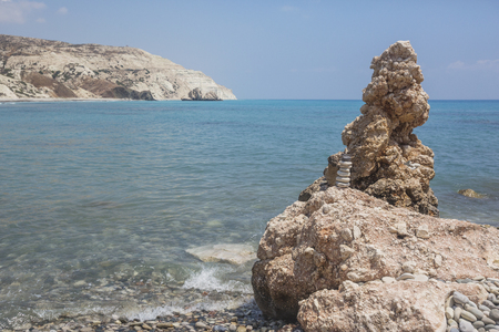 Cyprus landscape. Rocks near the birthplace of Aphrodite from sea foam