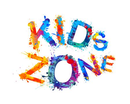 Kids zone, colorful inscription of splash paint letters.