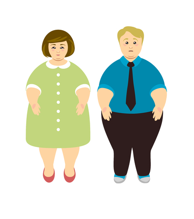 Weight loss. Overweight man and woman. Vector illustration Ilustração
