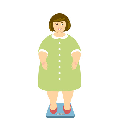 Weight loss. Overweight woman in green dress on scales and winks. Vector illustration