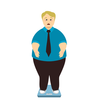 Overweight pained man weighed on scales. Vector illustration